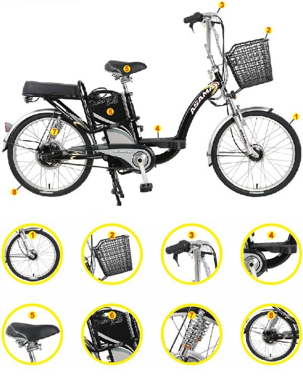 Thiết kế xe đạp điện Asama chính hãng