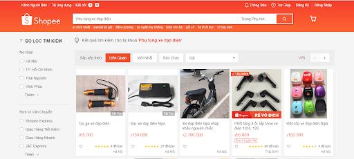 Một vài sản phẩm phụ tùng xe đạp điện được bán trên trang Shopee
